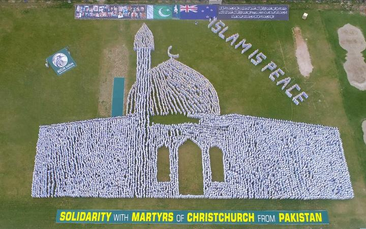 More than 20,000 people in Shorkot, Pakistan created a striking visual tribute to the victims of the Christchurch mosque massacre.