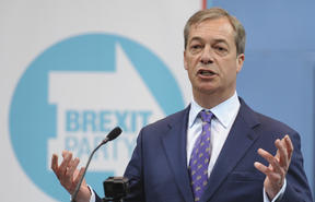 British MEP Nigel Farage speaks during the launch of the Brexit Party's European election campaign.