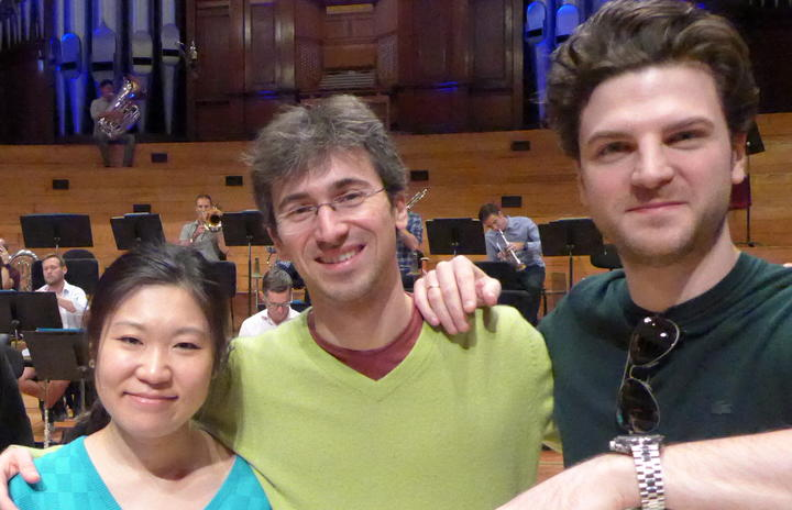 Sporting an appropriate t-shirt, our recording engineer Rangi Powick is with the three soloists for Beethoven's Triple Concerto, Tianwa Yang, Nicolas Rimmer, and Gabriel Schwabe