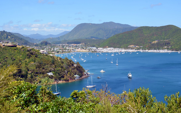 Boats in the harbour in Waikawa Bay, Marlborough Sounds