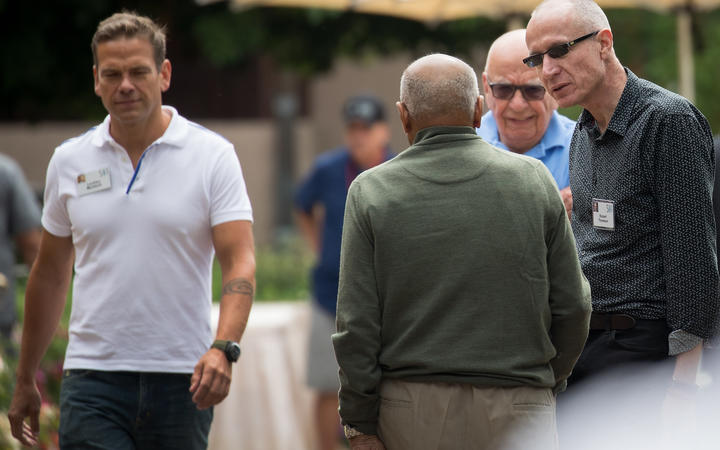 (L to R) Lachlan Murdoch, Rupert Murdoch, and Robert Thompson at the exclusive Allen & Company Sun Valley Conference.