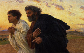 The disciples Peter and John running to the tomb on the morning of the resurrection - Eugene Burnard