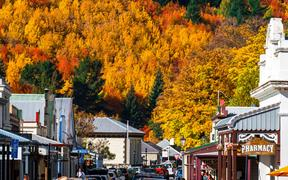 2018 April, 5 - Otago, New Zealand, Arrowtown in autumn with colorful trees.