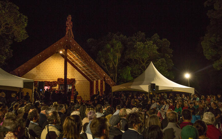 An estimated 1500 people attend the pre-dawn prayer service on the Treaty Grounds.
