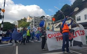 Climate change protesters took over Wellington's Oriental Parade in central Wellington on Saturday.