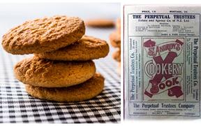 Anzac Biscuits - or Anzac Crispies, as they were known as in the 1922 edition of the St Andrew's Cookery Book (right).