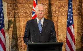 US Vice President Joe Biden speaking at Government House. 21 July 2016.