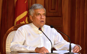 Sri Lankan Prime Minister Ranil Wickremesinghe speaks during a press conference in Colombo on April 21, 2019. - Eight people have been arrested in connection with a string of deadly blasts that killed more than 200 people in Sri Lanka on April 21, the country's Prime Minister said.