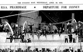 RSA Pilgrimage, the departure of Diggers for Sydney, April 22 1938 Evening Post newspaper