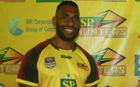 PNG Hunters captain Adex Wera (R) and vice-captain Moses Meninga (L).