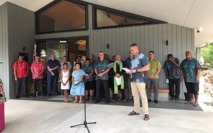 Fletcher Tabuteau speaks at the opening of the new chancery of the New Zealand High Commission on Niue