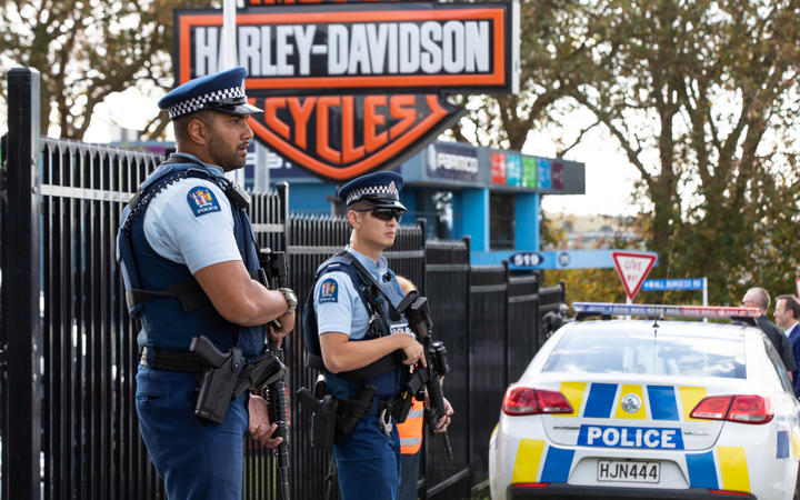 Armed police are standing guard outside the Harley Davidson story in Mt Wellington after a man was shot.