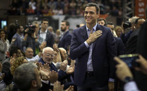 Spanish Prime Minister Pedro Sánchez reacts to supporters during an election campaign event in Barcelona, on 25 April, 2019.