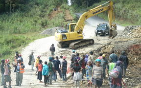 Road construction on Papua New Guinea's Highlands Highway.