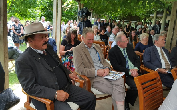Dover Samuels and Winston Peters listen as Steven Joyce announces the funding boost for the Hundertwasser Art Centre at an event in Kerikeri on 4 February 2015..