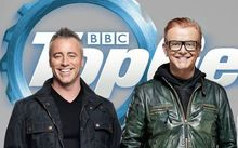 Top Gear's new presenting team, from left, Matt LeBlanc, Chris Evans and the Stig