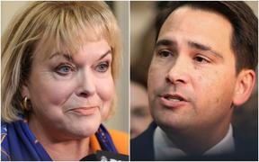 Judith Collins and Simon Bridges at caucus run.