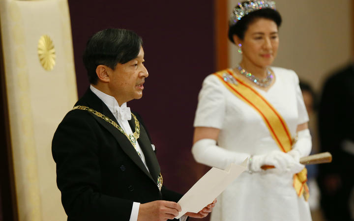 Japanese new Emperor Naruhito delivers the first speech after the accession during his first audience ceremony, Sokui-go-Choken-no-Gi, at Imperial Palace in Tokyo on May 1, 2019.