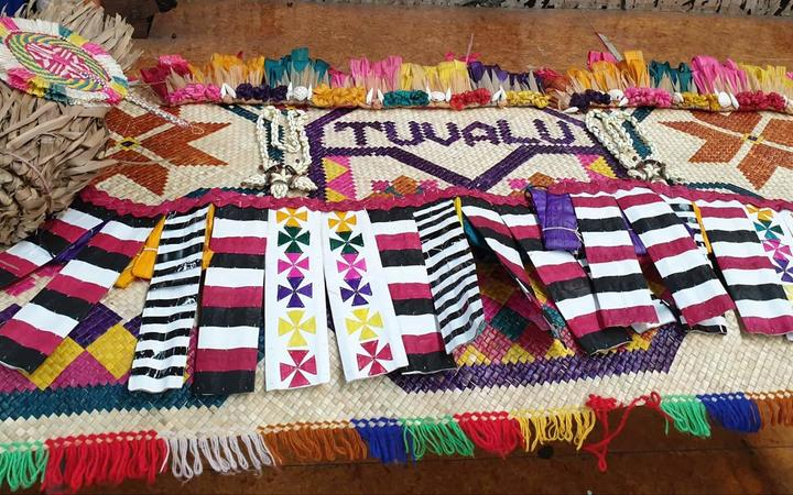 A Tuvualan mat and other cultural items that were on display at the Arts and Culture Festival in Auckland.