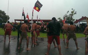 About 200 anti-TPP protesters are welcomed onto Te Tii Marae in Waitangi.