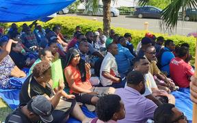 Workers from the Fiji Water Authority stage a protest in Nadi. More than 30 people have been arrested by police in relation to the action and a planned protest this weekend. 1 May 2019