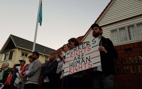 Protesters gathered outside Fiji's High Commission in Wellington in solidarity for their Fijian counterparts.