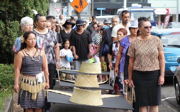 The Walk For Peace on 5 February 2016 in New Plymouth, following the footsteps of prisoners taken during the sacking of Parihaka in 1881.