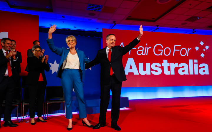 Australian Labor Party eader Bill Shorten (R) and Deputy Labor leader Tanya Plibersek (L) wave during the election launch  in Brisbane on May 5.