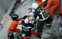 A child is rescued after a 6.4 quake in Taiwan.