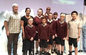 Nanogirl and Dr Gary Wilson with students from Casebrook Intermediate School including; Annaliese McEwan, Briana Banks, Isaac Yao, Braeden Yu, Aaliyah Morrison, Nicole Walters, Jonty Somerville and Ashton Fairley