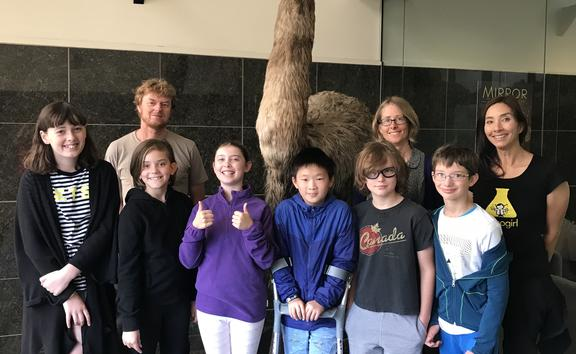 Nanogirl, Dr Lara Shepherd and Dr Alan Tennyson with students from Clyde Quay School including; Noelle Schille, Aiden Zhao, Nate Toews, Sadie Donaldson and Eleanor Royson.