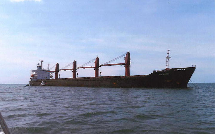 "This undated image released by the US Attorney's Office shows the cargo vessel ""Wise Honest"" which the US said it had seized after it violated international sanctions by exporting coal and importing machinery."