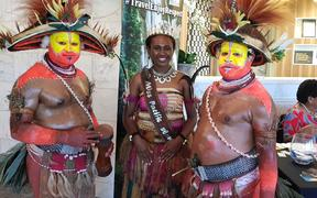 Miss Pacific Islands Leoshina Kariha with other performers from Papua New Guinea at the South Pacific Tourism Exchange in Auckland this week.