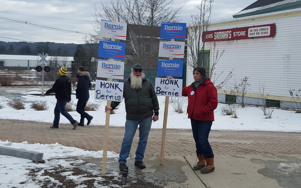Bernie Sanders supporters Stephen Woodbury and Kristin Walsh on the main street of Plymouth, New Hampshire.