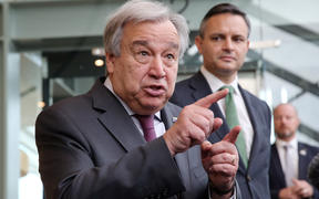 United Nations Secretary-General Antonio Guterres (left) speaks to the media after he attended a breakfast with youth climate change and environmental leaders chaired by the Minister for Climate Change James Shaw.