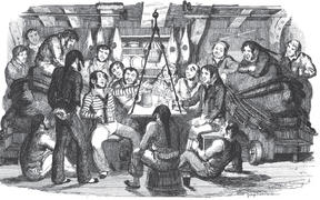 "Saturday Night at Sea: An illustration from the book ""Songs, naval and national"" by Thomas Dibdin, 1841."
