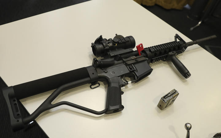 A Norinco 5-point-56, a mock of the M16 rifle, which is now illegal.