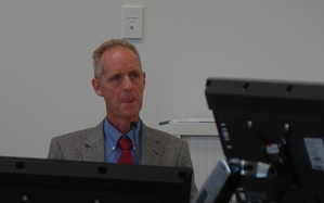 Tree historian Brad Cadwallader addresses a hearing panel in Christchurch on 9 February 2016.