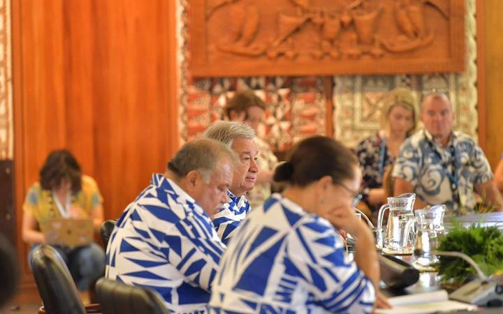 The UN Secretary-General was welcomed on Wednesday morning by the Fijian Government with a traditional ceremony, before calling for #ClimateAction with Pacific leaders at the Pacific Islands Forum Secretariat