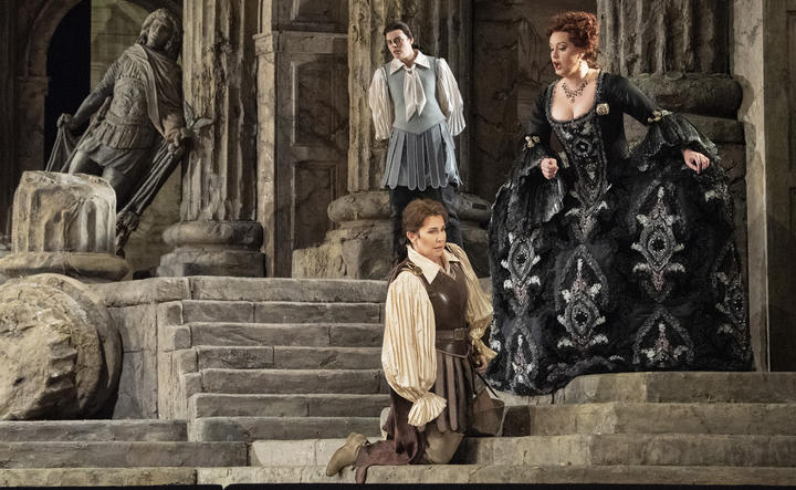Emily D'Angelo as Annio, Joyce DiDonato  as Sesto, and Elza van den Heever as Vitellia at The Met