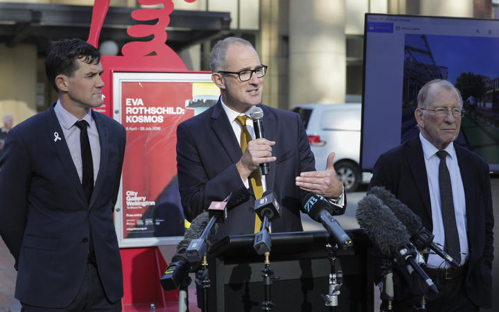 Transport Minister Phil Twyford, Wellington City Mayor Justin Lester and Wellington Regional Mayor Chris Laidlaw announce the Let's Get Wellington Moving project