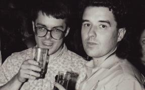Chris Bourke (editor, RIU)and Murray Cammick (publisher) in 1987, the night Ardijah won the Rheineck Rock Award.