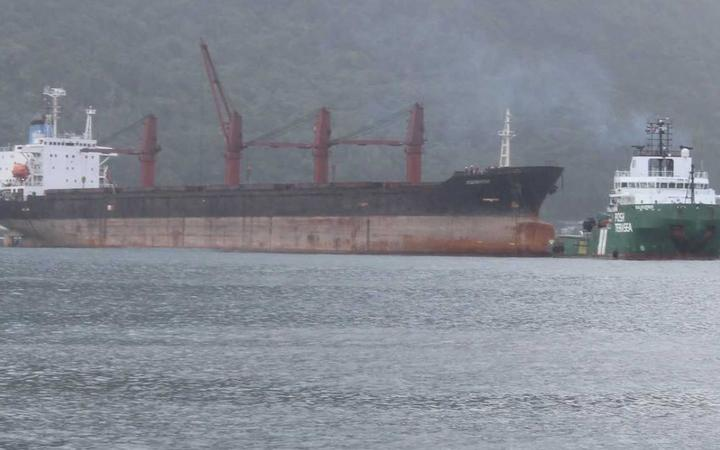 The North Korean cargo ship, Wise Honest, now anchored just off Utulei village shoreline