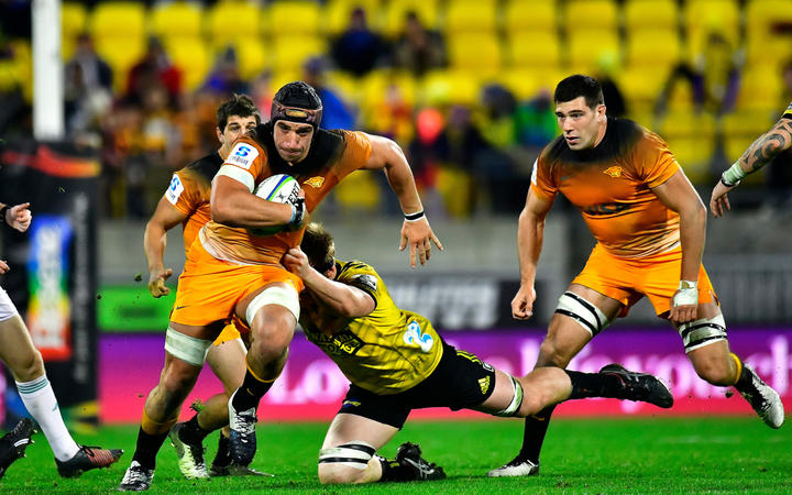 Jaguares Tomas Lavanin in action during the Super Rugby game between Hurricanes vs Jaguares.
