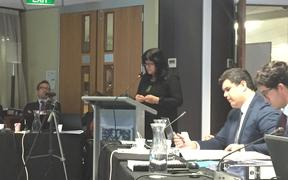 Lawyer Annette Sykes addresses the Waitangi Tribunal.