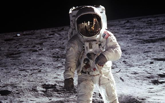 US Astronaut Buzz Aldrin, walking on the Moon July 20 1969. Taken during the first Lunar landing of the Apollo 11 space mission by NASA.World History Archive