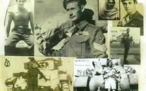 A collage of Pedro's many military uniforms from 1937 -1948, including the Spanish International Brigade, French Foreign Legion, British airborne and tank units, and New Zealand's J-Force