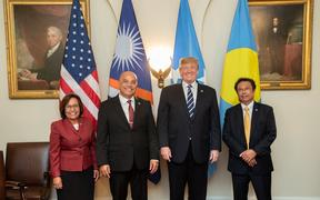 President of the Republic of the Marshall Islands Hilda Heine, and President of the Federated States of Micronesia David Panuelo, US President Donal Trump and President of the Republic of Palau Tommy E. Remengesau.