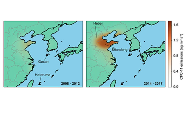 Emissions inferred from atmospheric observations at Gosan and Hateruma monitoring stations show an increase from eastern China between the periods 2008–2012 (left) and 2014–2017 (right). The emission rise is primarily from Shandong and Hebei and surrounding provinces