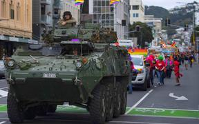Chief of Defence Force Air Marshal Kevin Short marched today in the Wellington International Pride Parade, joined by NZDF personnel from the New Zealand Army, Royal New Zealand Air Force, Royal New Zealand Navy and civilian colleagues.